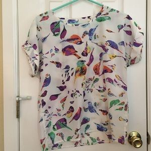 Bird Print Blouse with Cuffed Sleeves